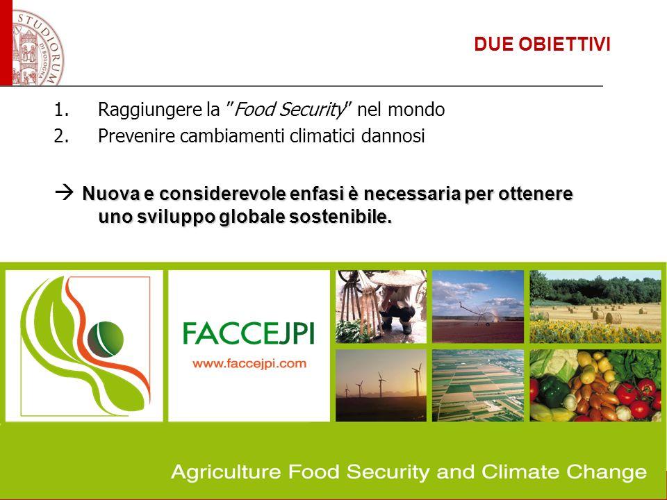 DUE OBIETTIVI 1.Raggiungere la Food Security nel mondo 2.Prevenire cambiamenti climatici dannosi Nuova e considerevole enfasi è necessaria per ottener