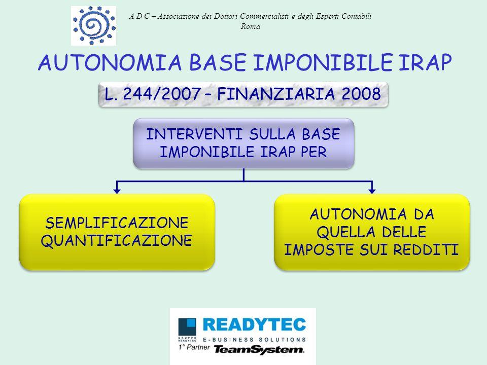 AUTONOMIA BASE IMPONIBILE IRAP L. 244/2007 – FINANZIARIA 2008 INTERVENTI SULLA BASE IMPONIBILE IRAP PER SEMPLIFICAZIONE QUANTIFICAZIONE AUTONOMIA DA Q