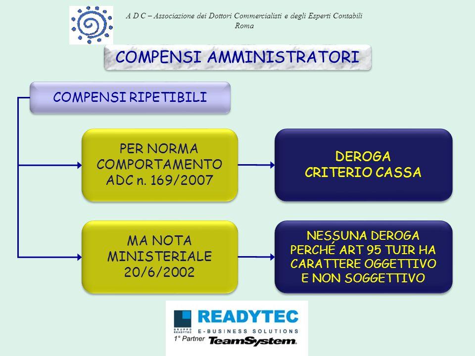 COMPENSI AMMINISTRATORI COMPENSI RIPETIBILI PER NORMA COMPORTAMENTO ADC n. 169/2007 MA NOTA MINISTERIALE 20/6/2002 DEROGA CRITERIO CASSA DEROGA CRITER