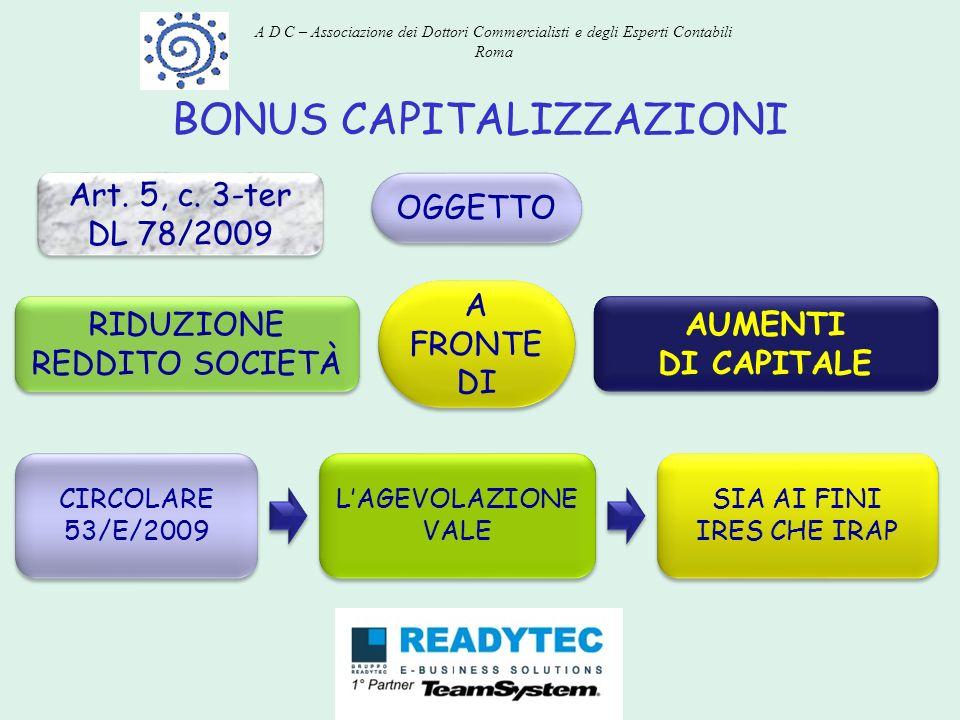BONUS CAPITALIZZAZIONI Art. 5, c. 3-ter DL 78/2009 Art. 5, c. 3-ter DL 78/2009 OGGETTO RIDUZIONE REDDITO SOCIETÀ A FRONTE DI AUMENTI DI CAPITALE AUMEN