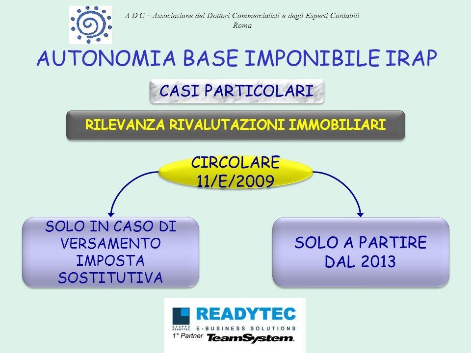 AUTONOMIA BASE IMPONIBILE IRAP CASI PARTICOLARI RILEVANZA RIVALUTAZIONI IMMOBILIARI SOLO IN CASO DI VERSAMENTO IMPOSTA SOSTITUTIVA CIRCOLARE 11/E/2009
