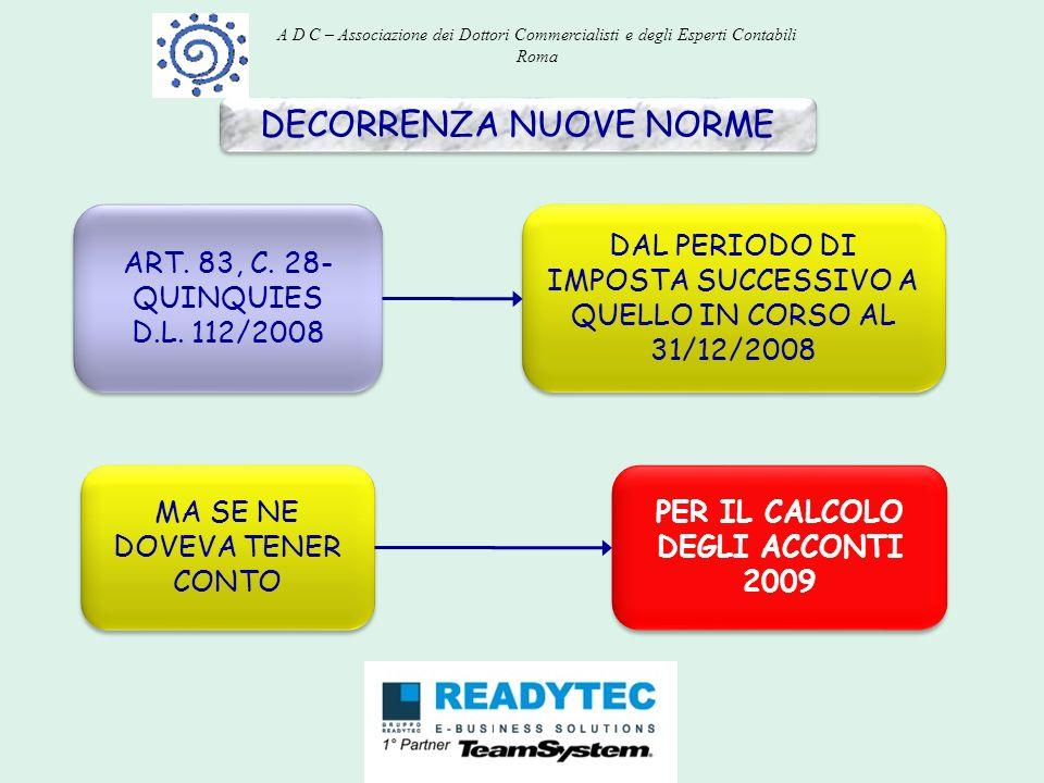 DECORRENZA NUOVE NORME ART. 83, C. 28- QUINQUIES D.L. 112/2008 ART. 83, C. 28- QUINQUIES D.L. 112/2008 DAL PERIODO DI IMPOSTA SUCCESSIVO A QUELLO IN C