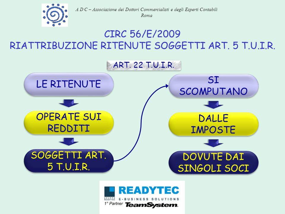 CIRC 56/E/2009 RIATTRIBUZIONE RITENUTE SOGGETTI ART. 5 T.U.I.R. ART. 22 T.U.I.R. OPERATE SUI REDDITI SOGGETTI ART. 5 T.U.I.R. LE RITENUTE DALLE IMPOST