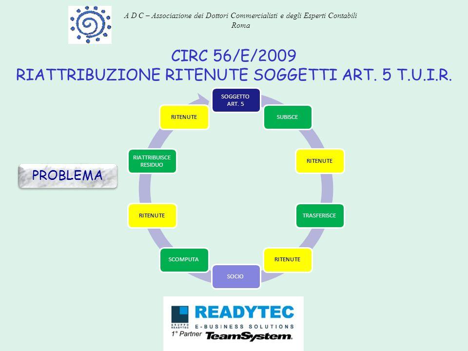 CIRC 56/E/2009 RIATTRIBUZIONE RITENUTE SOGGETTI ART. 5 T.U.I.R. PROBLEMA SOGGETTO ART. 5 SUBISCERITENUTETRASFERISCERITENUTESOCIOSCOMPUTARITENUTE RIATT