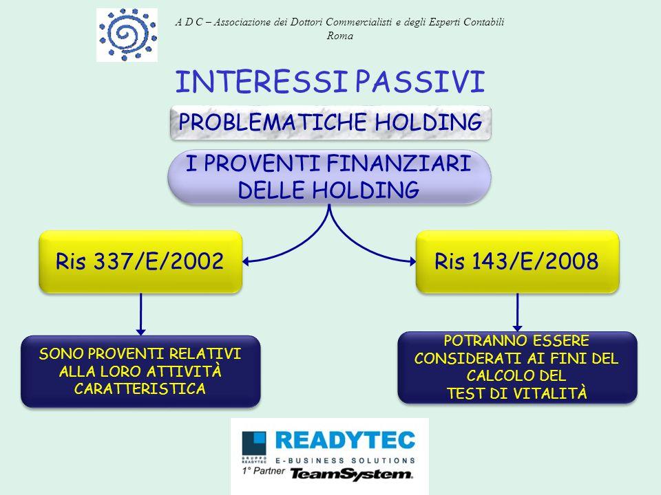 INTERESSI PASSIVI PROBLEMATICHE HOLDING I PROVENTI FINANZIARI DELLE HOLDING Ris 337/E/2002 SONO PROVENTI RELATIVI ALLA LORO ATTIVITÀ CARATTERISTICA Ri