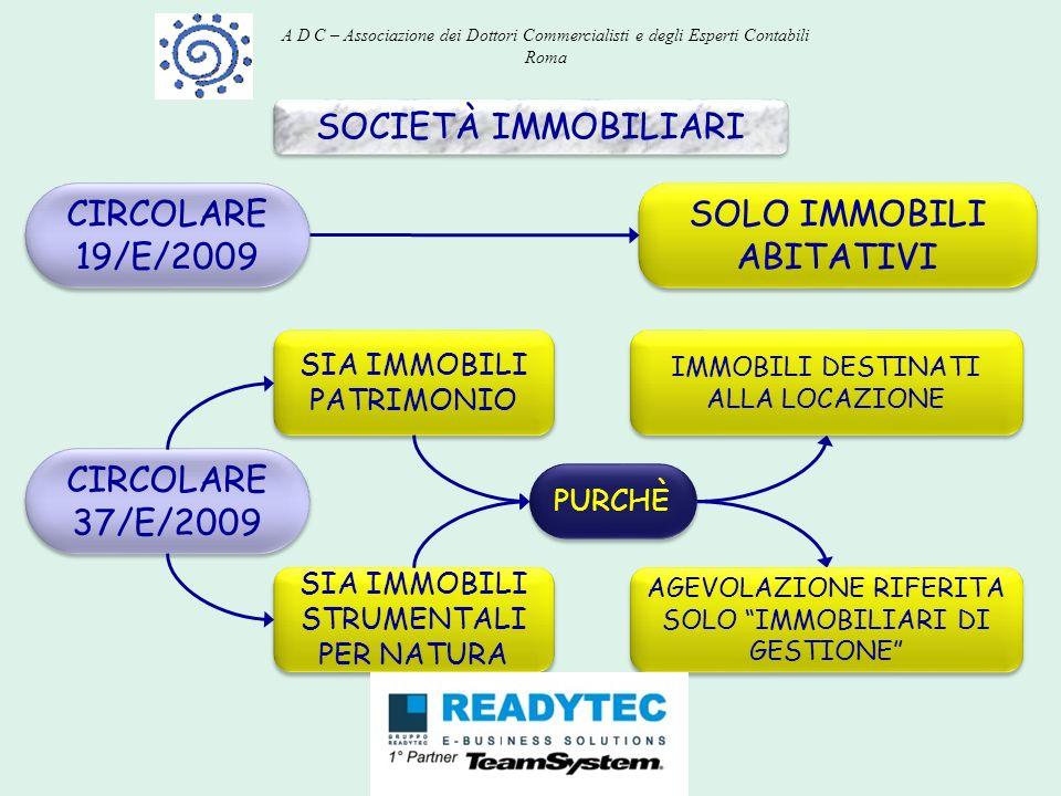 SOCIETÀ IMMOBILIARI CIRCOLARE 19/E/2009 SOLO IMMOBILI ABITATIVI PURCHÈ CIRCOLARE 37/E/2009 SIA IMMOBILI PATRIMONIO SIA IMMOBILI STRUMENTALI PER NATURA