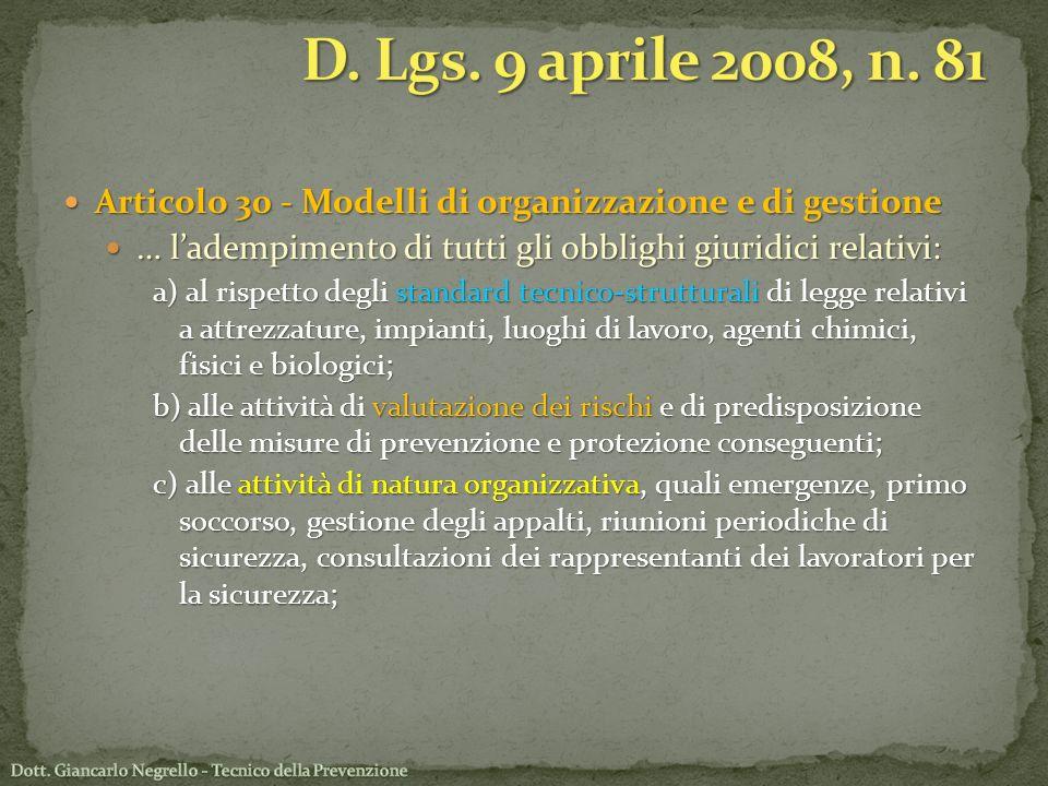 Articolo 30 - Modelli di organizzazione e di gestione Articolo 30 - Modelli di organizzazione e di gestione … ladempimento di tutti gli obblighi giuri