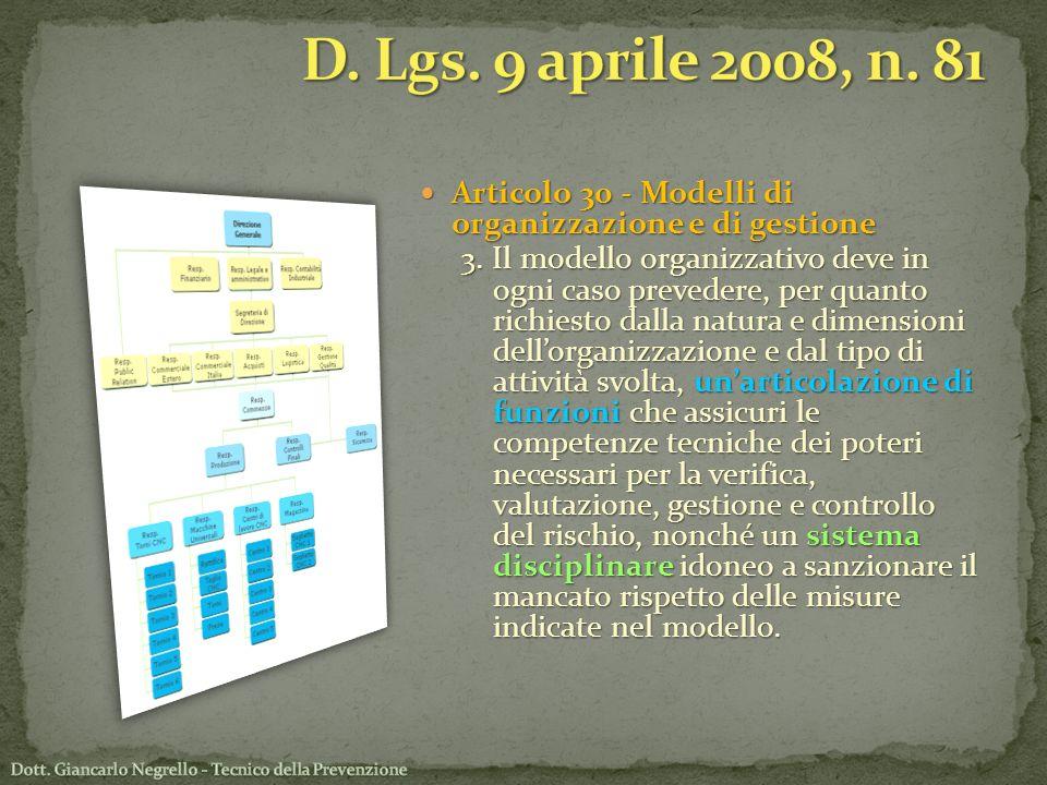 Articolo 30 - Modelli di organizzazione e di gestione Articolo 30 - Modelli di organizzazione e di gestione 3. Il modello organizzativo deve in ogni c