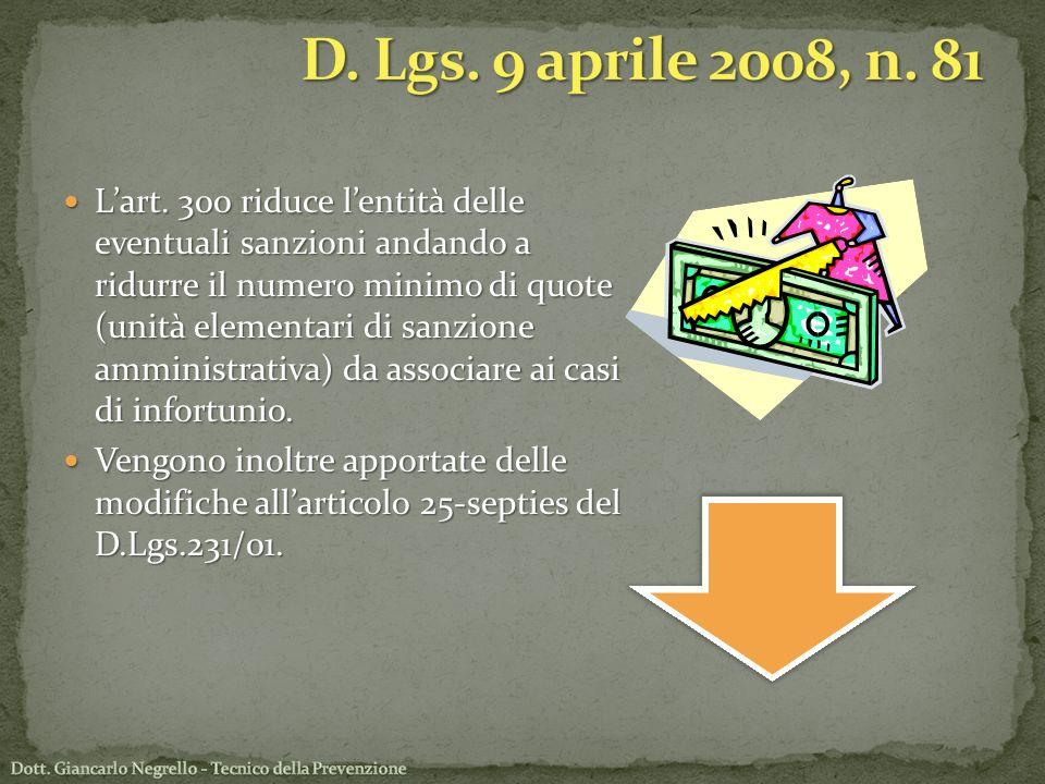 Lart. 300 riduce lentità delle eventuali sanzioni andando a ridurre il numero minimo di quote (unità elementari di sanzione amministrativa) da associa