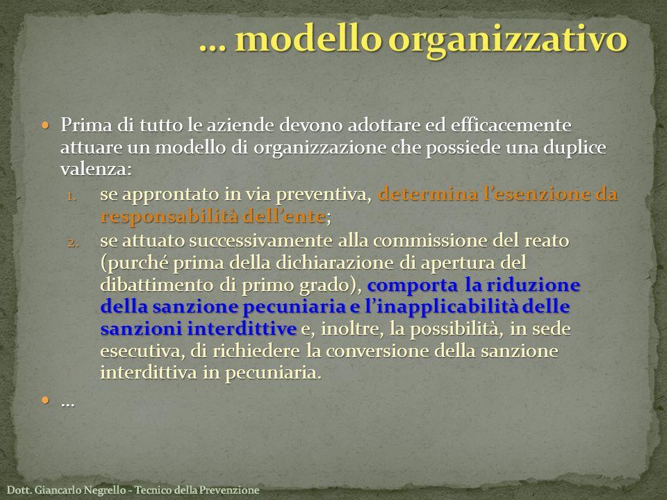 Prima di tutto le aziende devono adottare ed efficacemente attuare un modello di organizzazione che possiede una duplice valenza: Prima di tutto le az