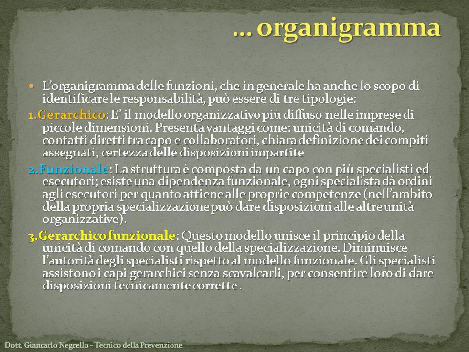 Lorganigramma delle funzioni, che in generale ha anche lo scopo di identificare le responsabilità, può essere di tre tipologie: Lorganigramma delle fu