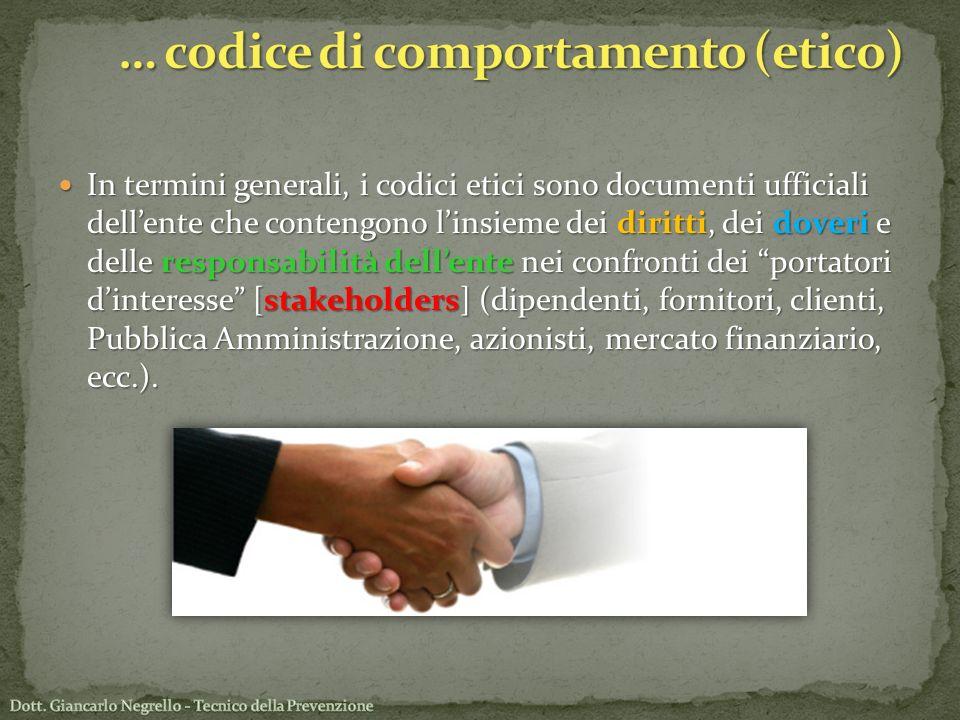 In termini generali, i codici etici sono documenti ufficiali dellente che contengono linsieme dei diritti, dei doveri e delle responsabilità dellente