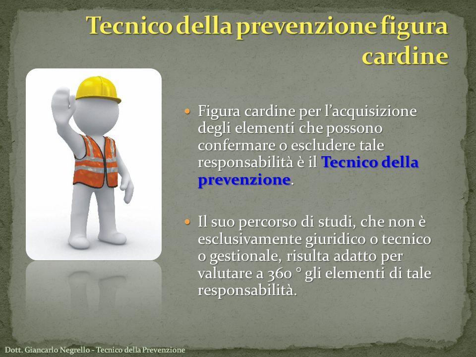 Figura cardine per lacquisizione degli elementi che possono confermare o escludere tale responsabilità è il Tecnico della prevenzione. Figura cardine