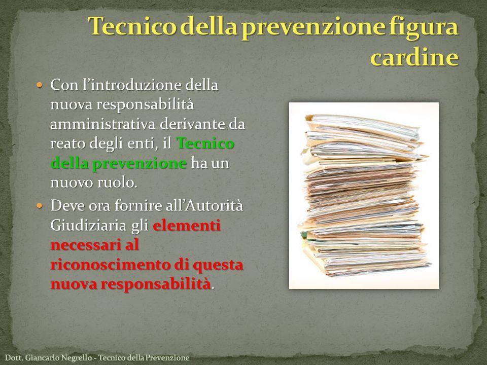 Con lintroduzione della nuova responsabilità amministrativa derivante da reato degli enti, il Tecnico della prevenzione ha un nuovo ruolo. Con lintrod