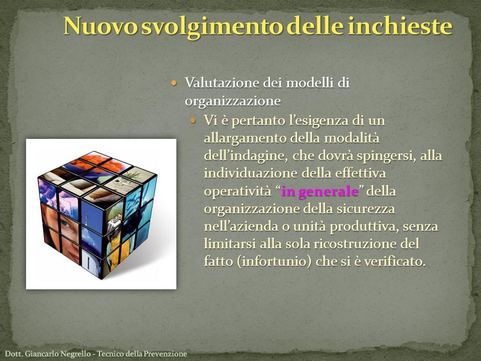 Valutazione dei modelli di organizzazione Valutazione dei modelli di organizzazione Vi è pertanto lesigenza di un allargamento della modalità dellinda