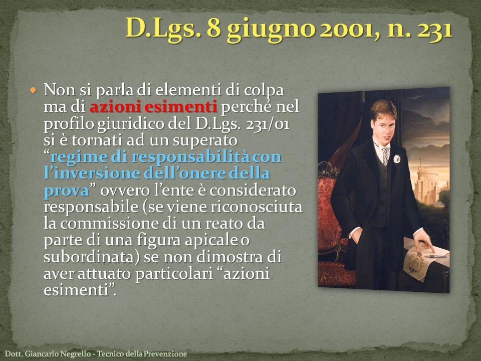 Non si parla di elementi di colpa ma di azioni esimenti perché nel profilo giuridico del D.Lgs. 231/01 si è tornati ad un superatoregime di responsabi