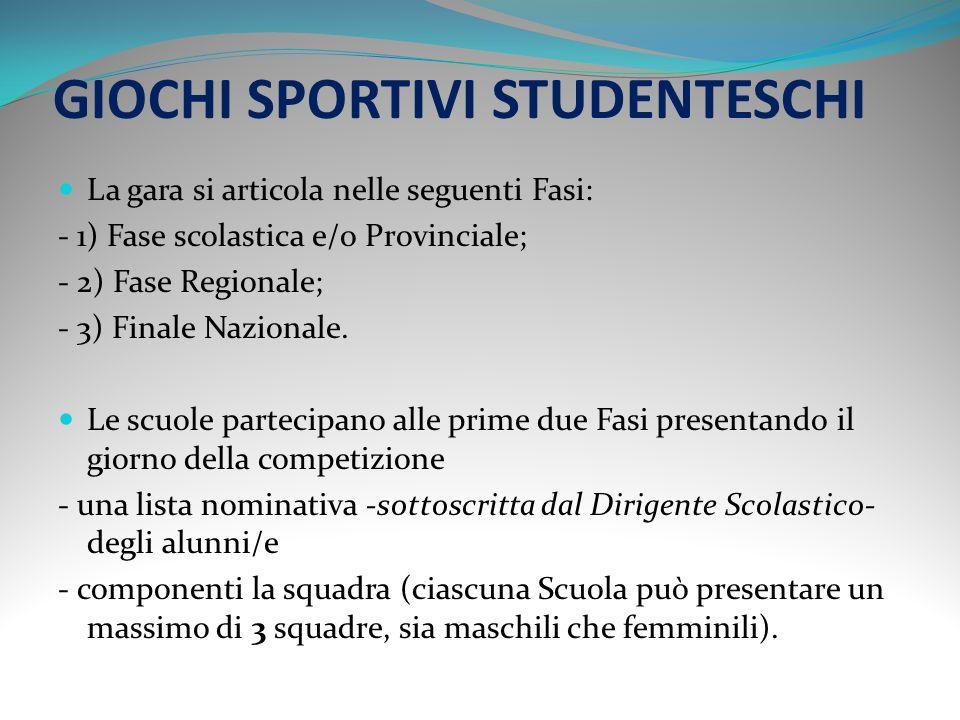 GIOCHI SPORTIVI STUDENTESCHI Ai Giochi Sportivi Studenteschi possono partecipare gli Alunni/e di 13 e 14 anni di età compiuta o da compiere nellanno solare (nati/e negli anni 1996 e 1997).