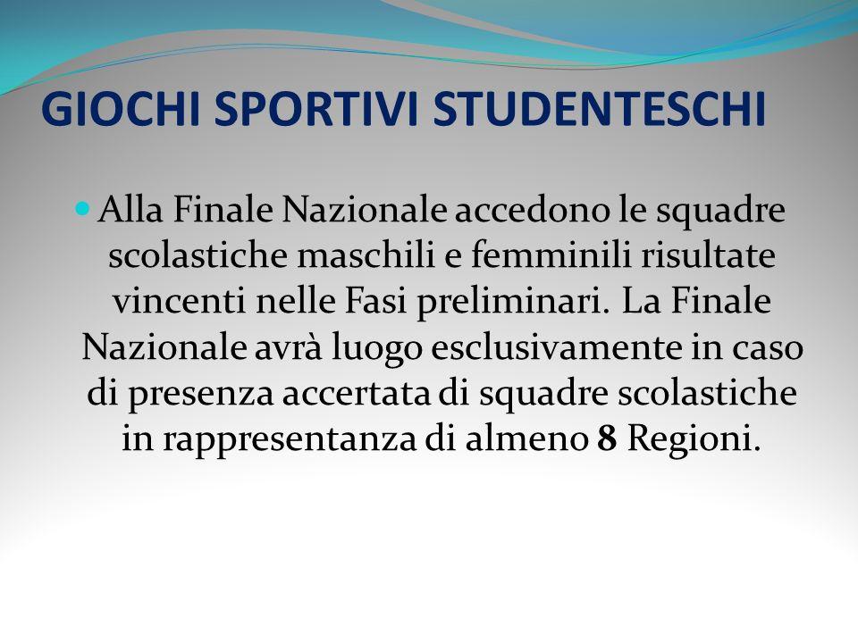 GIOCHI SPORTIVI STUDENTESCHI La gara si articola nelle seguenti Fasi: - 1) Fase scolastica e/o Provinciale; - 2) Fase Regionale; - 3) Finale Nazionale.