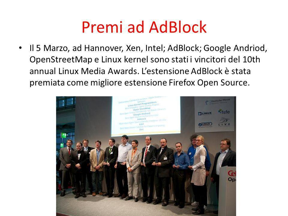 Premi ad AdBlock Il 5 Marzo, ad Hannover, Xen, Intel; AdBlock; Google Andriod, OpenStreetMap e Linux kernel sono stati i vincitori del 10th annual Lin