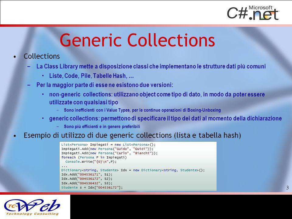 Generic Collections Collections – La Class Library mette a disposizione classi che implementano le strutture dati più comuni Liste, Code, Pile, Tabell