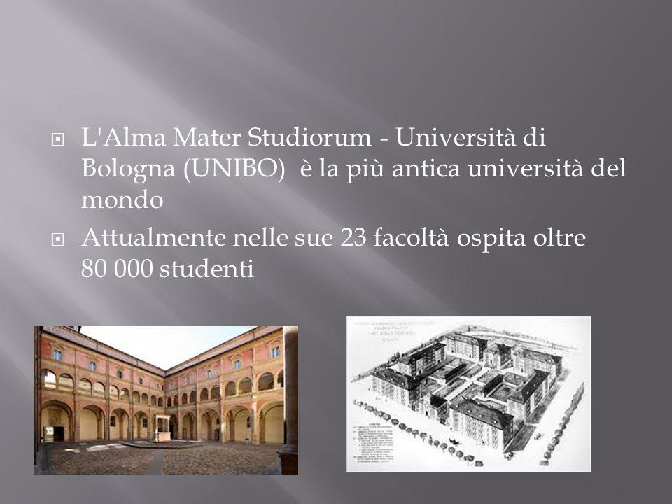 L'Alma Mater Studiorum - Università di Bologna (UNIBO) è la più antica università del mondo Attualmente nelle sue 23 facoltà ospita oltre 80 000 stude