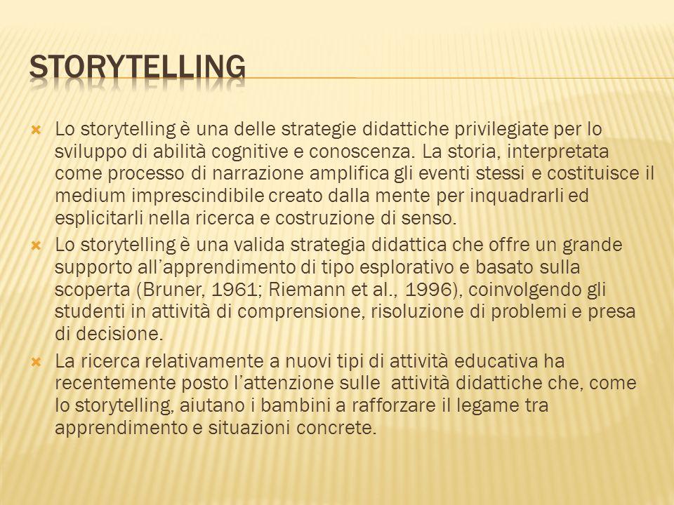 Lo storytelling è una delle strategie didattiche privilegiate per lo sviluppo di abilità cognitive e conoscenza. La storia, interpretata come processo