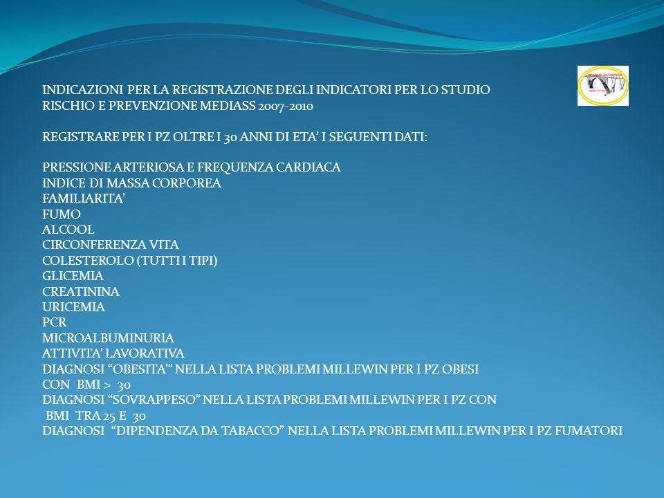 INDICAZIONI PER LA REGISTRAZIONE DEGLI INDICATORI PER LO STUDIO RISCHIO E PREVENZIONE MEDIASS 2007-2010 REGISTRARE PER I PZ OLTRE I 30 ANNI DI ETA I SEGUENTI DATI: PRESSIONE ARTERIOSA E FREQUENZA CARDIACA INDICE DI MASSA CORPOREA FAMILIARITA FUMO ALCOOL CIRCONFERENZA VITA COLESTEROLO (TUTTI I TIPI) GLICEMIA CREATININA URICEMIA PCR MICROALBUMINURIA ATTIVITA LAVORATIVA DIAGNOSI OBESITA NELLA LISTA PROBLEMI MILLEWIN PER I PZ OBESI CON BMI > 30 DIAGNOSI SOVRAPPESO NELLA LISTA PROBLEMI MILLEWIN PER I PZ CON BMI TRA 25 E 30 DIAGNOSI DIPENDENZA DA TABACCO NELLA LISTA PROBLEMI MILLEWIN PER I PZ FUMATORI