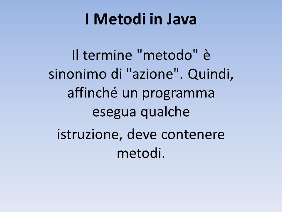 I Metodi in Java Il termine metodo è sinonimo di azione .