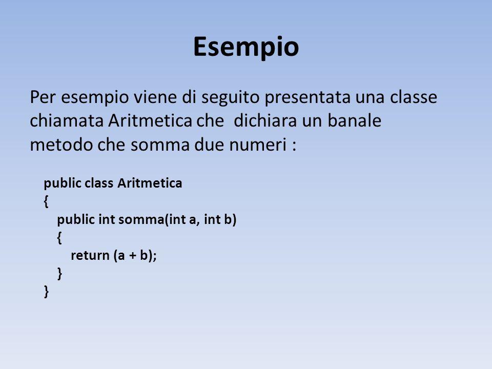 Esempio Per esempio viene di seguito presentata una classe chiamata Aritmetica che dichiara un banale metodo che somma due numeri : public class Aritmetica { public int somma(int a, int b) { return (a + b); }