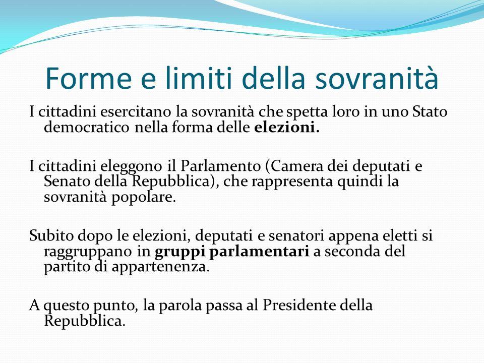 Forme e limiti della sovranità I cittadini esercitano la sovranità che spetta loro in uno Stato democratico nella forma delle elezioni. I cittadini el
