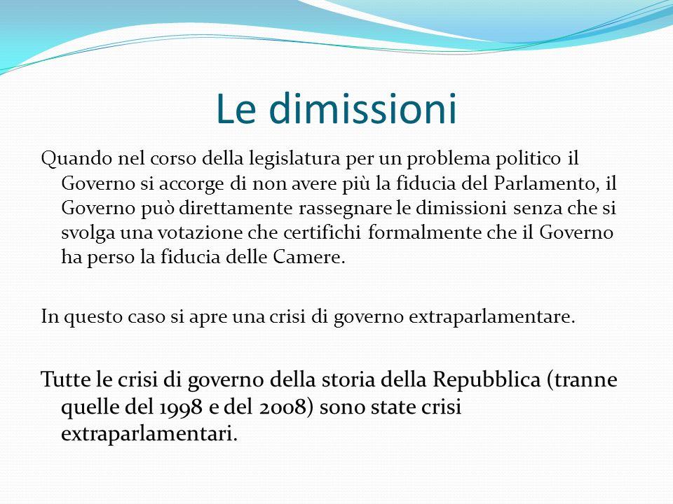 Le dimissioni Quando nel corso della legislatura per un problema politico il Governo si accorge di non avere più la fiducia del Parlamento, il Governo