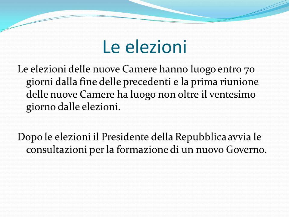 Le elezioni Le elezioni delle nuove Camere hanno luogo entro 70 giorni dalla fine delle precedenti e la prima riunione delle nuove Camere ha luogo non oltre il ventesimo giorno dalle elezioni.