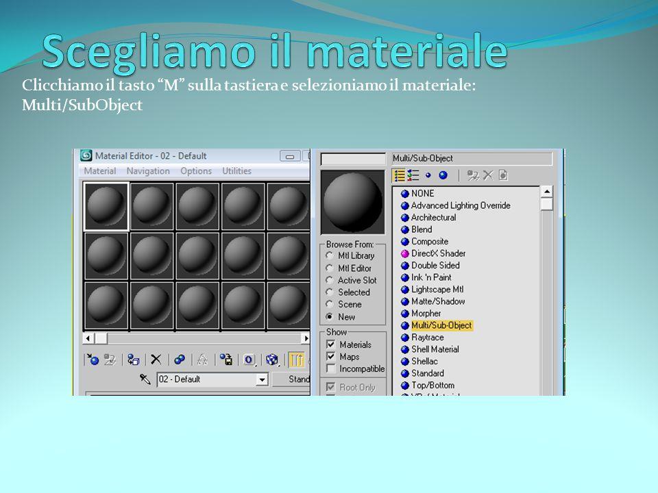Clicchiamo il tasto M sulla tastiera e selezioniamo il materiale: Multi/SubObject