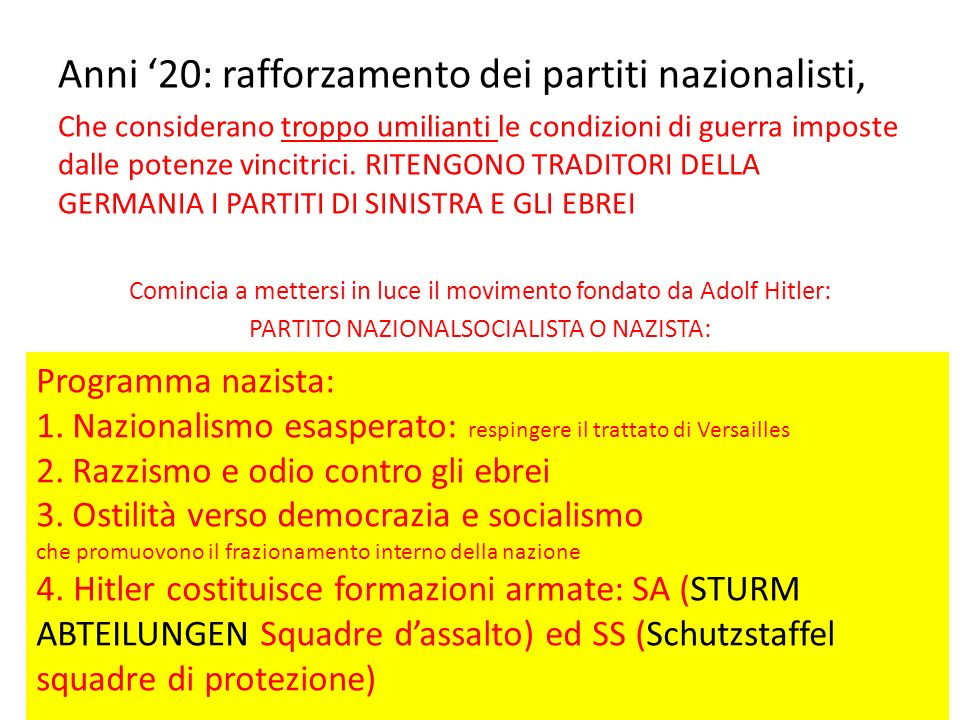 Anni 20: rafforzamento dei partiti nazionalisti, Che considerano troppo umilianti le condizioni di guerra imposte dalle potenze vincitrici. RITENGONO