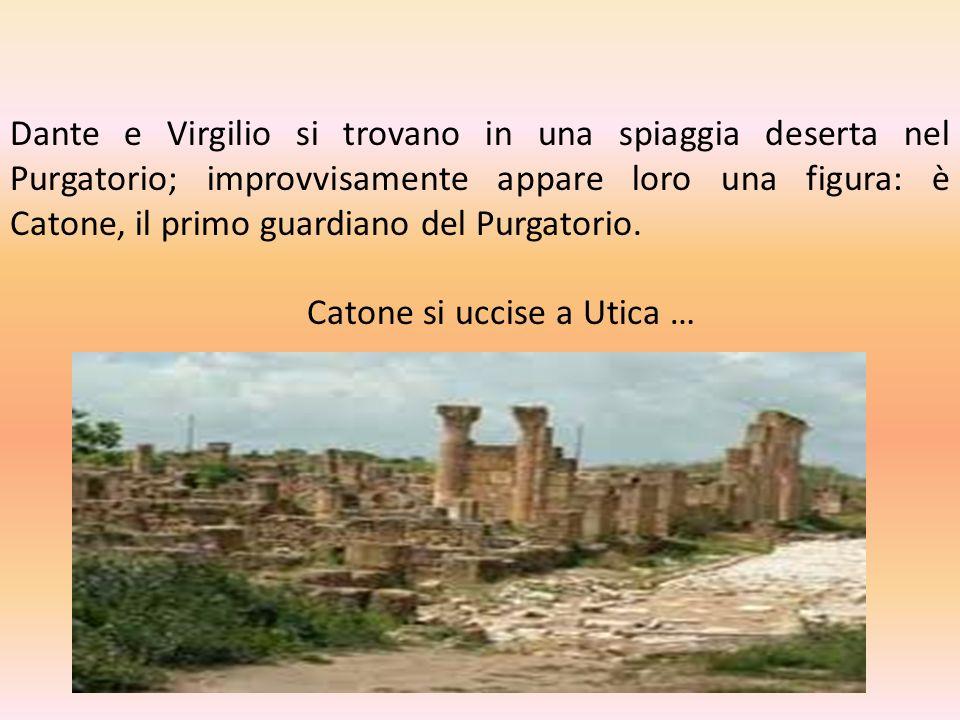 Dante e Virgilio si trovano in una spiaggia deserta nel Purgatorio; improvvisamente appare loro una figura: è Catone, il primo guardiano del Purgatori
