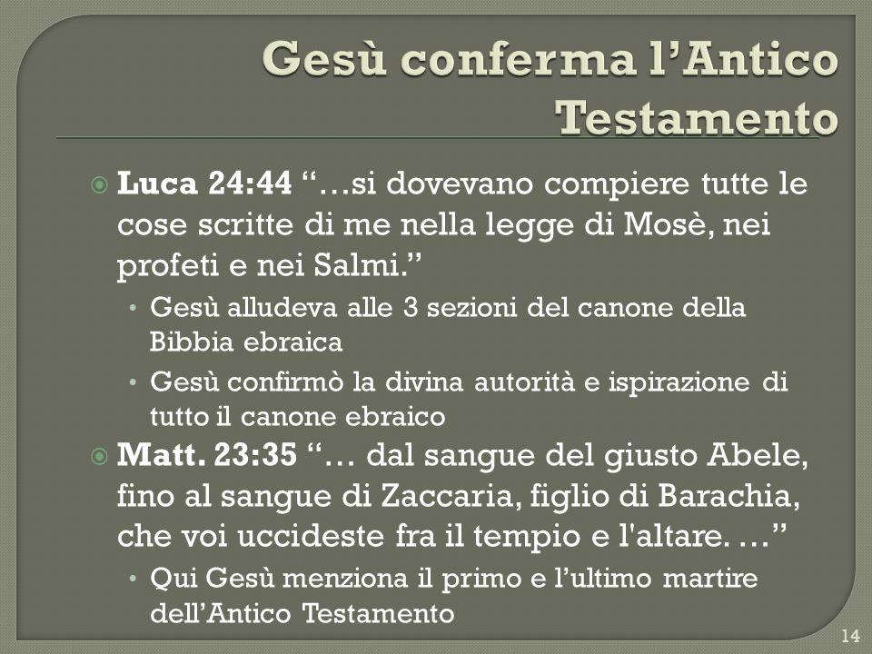 Luca 24:44 …si dovevano compiere tutte le cose scritte di me nella legge di Mosè, nei profeti e nei Salmi. Gesù alludeva alle 3 sezioni del canone del