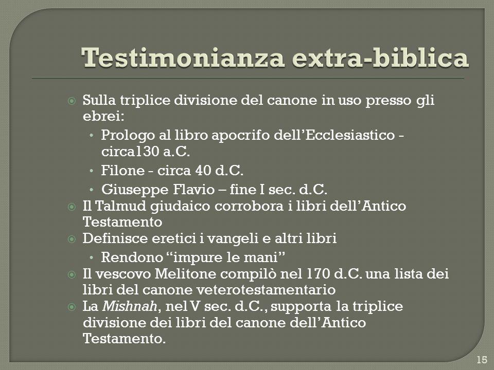 Sulla triplice divisione del canone in uso presso gli ebrei: Prologo al libro apocrifo dellEcclesiastico - circa130 a.C. Filone - circa 40 d.C. Giusep
