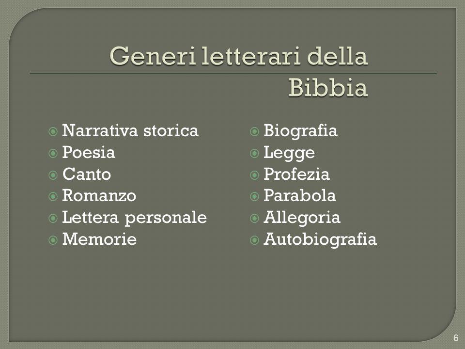 Narrativa storica Poesia Canto Romanzo Lettera personale Memorie Biografia Legge Profezia Parabola Allegoria Autobiografia 6