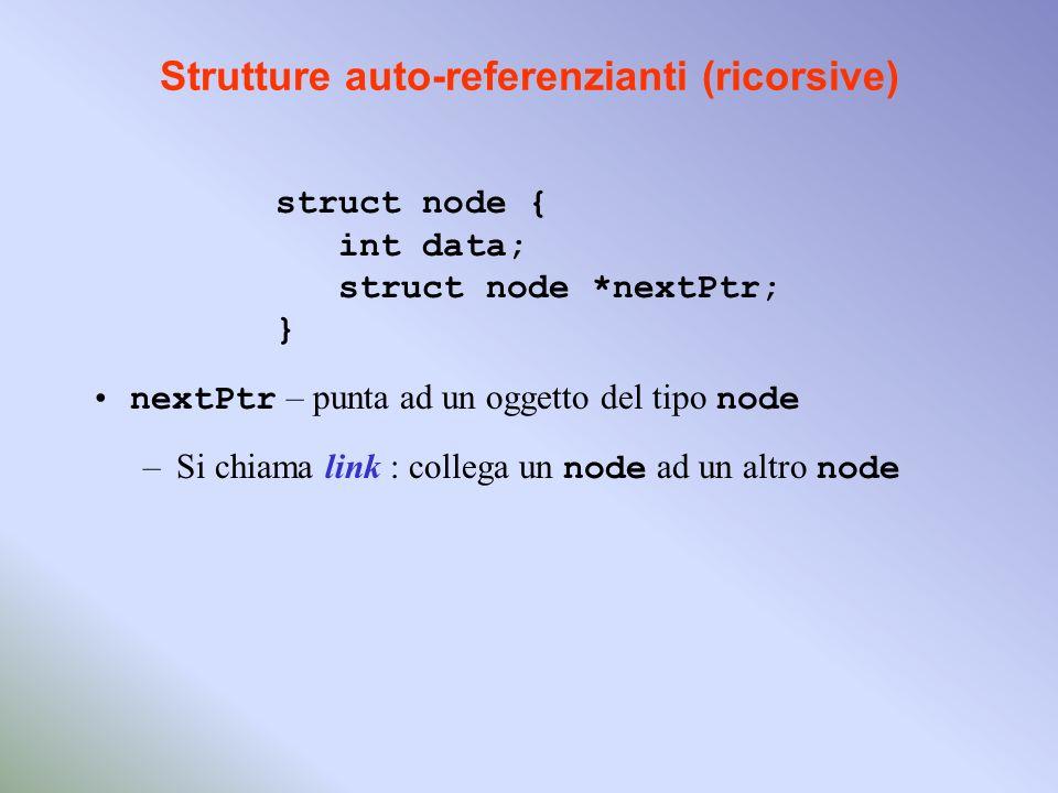 Strutture auto-referenzianti (ricorsive) struct node { int data; struct node *nextPtr; } nextPtr – punta ad un oggetto del tipo node –Si chiama link : collega un node ad un altro node