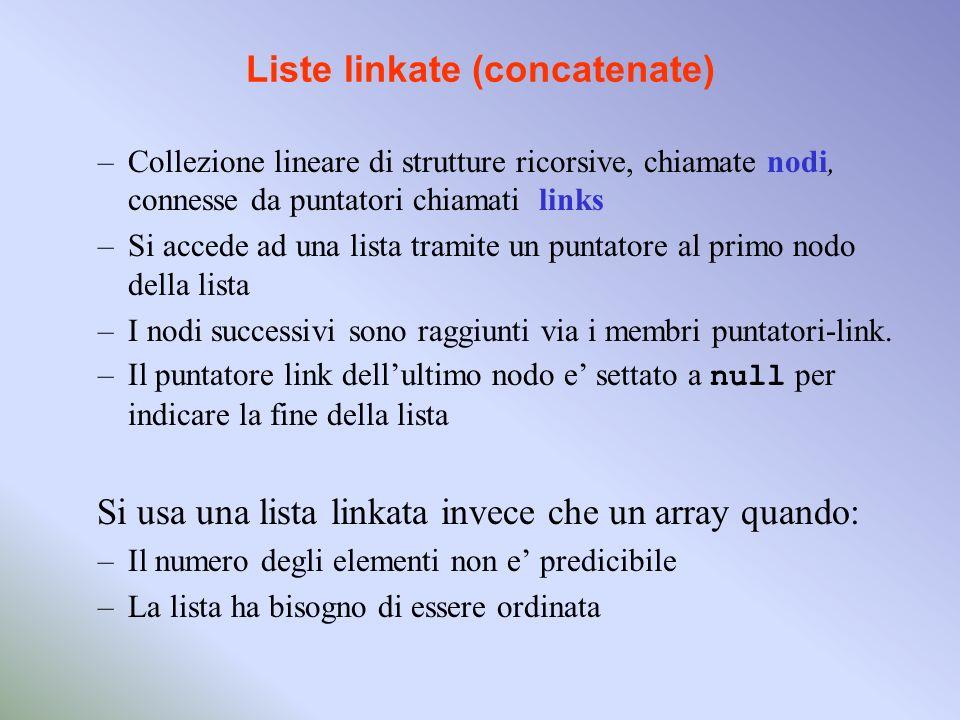 Liste linkate (concatenate) –Collezione lineare di strutture ricorsive, chiamate nodi, connesse da puntatori chiamati links –Si accede ad una lista tramite un puntatore al primo nodo della lista –I nodi successivi sono raggiunti via i membri puntatori-link.
