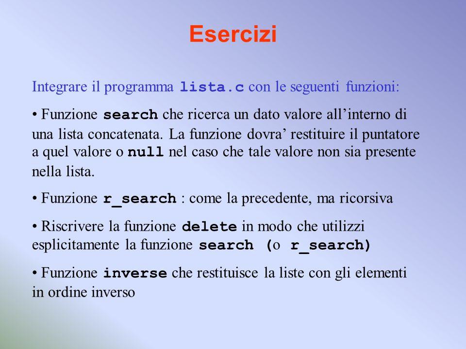 Esercizi Integrare il programma lista.c con le seguenti funzioni: Funzione search che ricerca un dato valore allinterno di una lista concatenata.