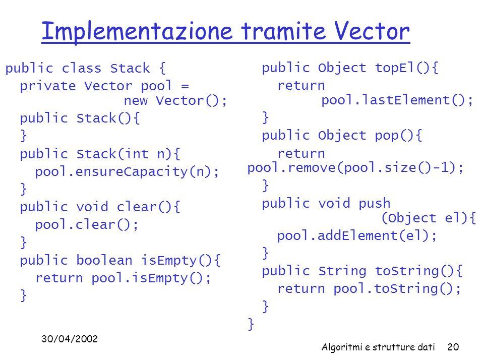 30/04/2002 Algoritmi e strutture dati20 Implementazione tramite Vector public class Stack { private Vector pool = new Vector(); public Stack(){ } public Stack(int n){ pool.ensureCapacity(n); } public void clear(){ pool.clear(); } public boolean isEmpty(){ return pool.isEmpty(); } public Object topEl(){ return pool.lastElement(); } public Object pop(){ return pool.remove(pool.size()-1); } public void push (Object el){ pool.addElement(el); } public String toString(){ return pool.toString(); }