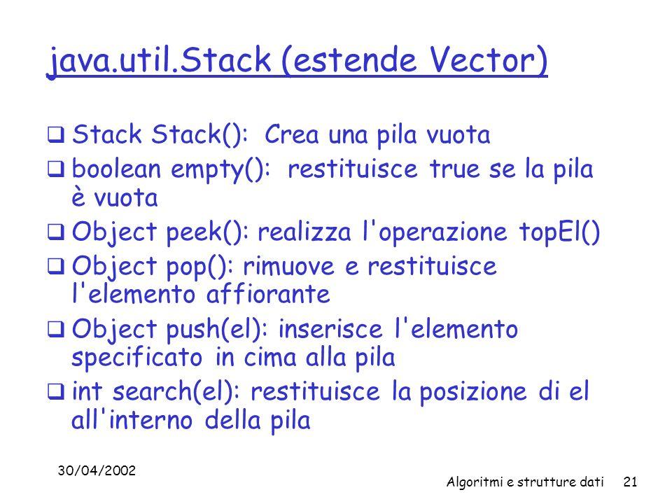 30/04/2002 Algoritmi e strutture dati21 java.util.Stack (estende Vector) Stack Stack(): Crea una pila vuota boolean empty(): restituisce true se la pila è vuota Object peek(): realizza l operazione topEl() Object pop(): rimuove e restituisce l elemento affiorante Object push(el): inserisce l elemento specificato in cima alla pila int search(el): restituisce la posizione di el all interno della pila