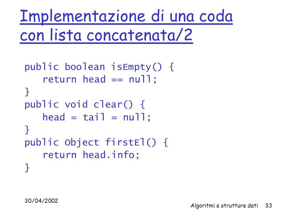 30/04/2002 Algoritmi e strutture dati33 Implementazione di una coda con lista concatenata/2 public boolean isEmpty() { return head == null; } public void clear() { head = tail = null; } public Object firstEl() { return head.info; }