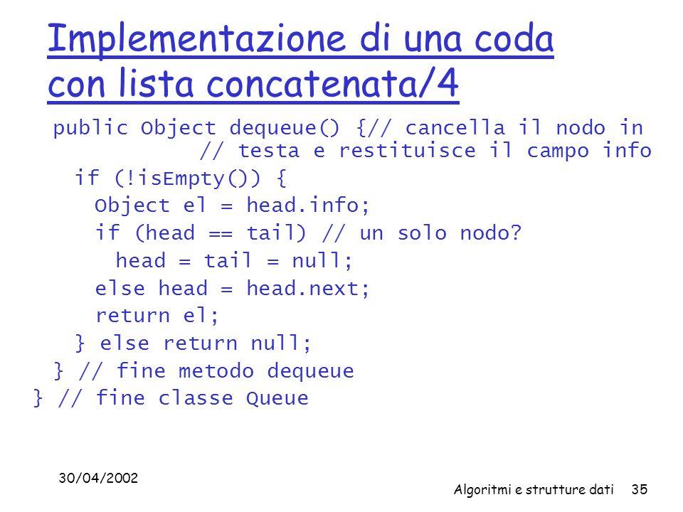 30/04/2002 Algoritmi e strutture dati35 Implementazione di una coda con lista concatenata/4 public Object dequeue() {// cancella il nodo in // testa e restituisce il campo info if (!isEmpty()) { Object el = head.info; if (head == tail) // un solo nodo.