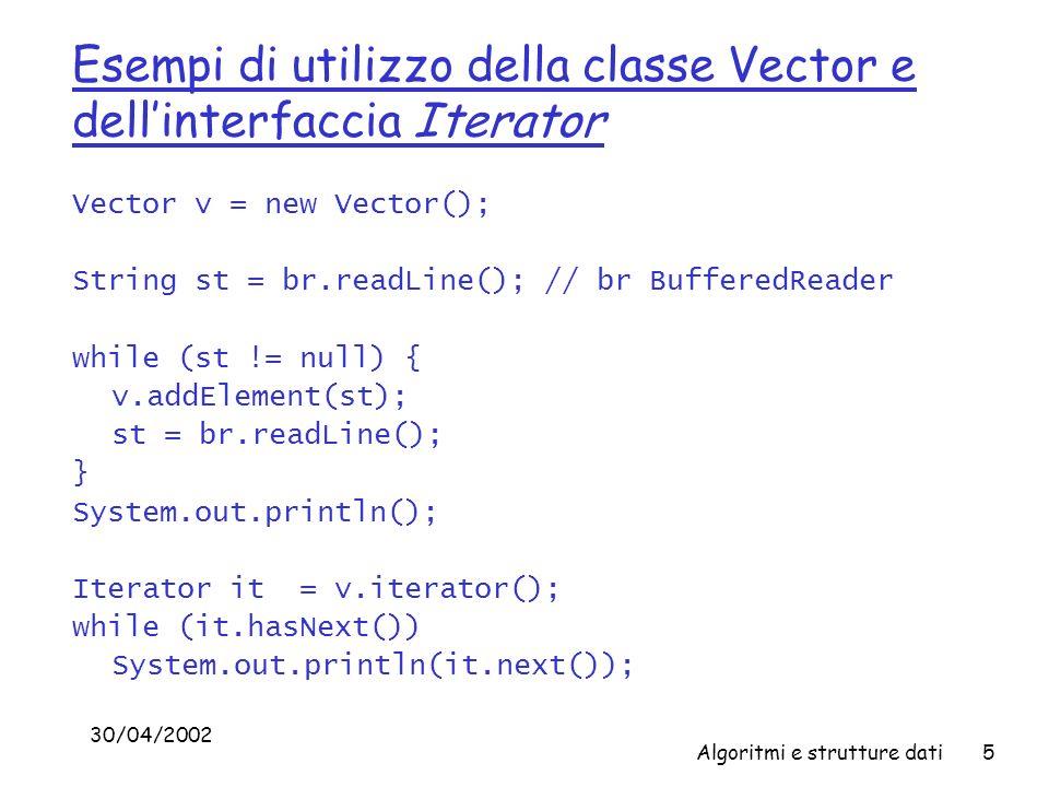 30/04/2002 Algoritmi e strutture dati5 Esempi di utilizzo della classe Vector e dellinterfaccia Iterator Vector v = new Vector(); String st = br.readLine(); // br BufferedReader while (st != null) { v.addElement(st); st = br.readLine(); } System.out.println(); Iterator it = v.iterator(); while (it.hasNext()) System.out.println(it.next());
