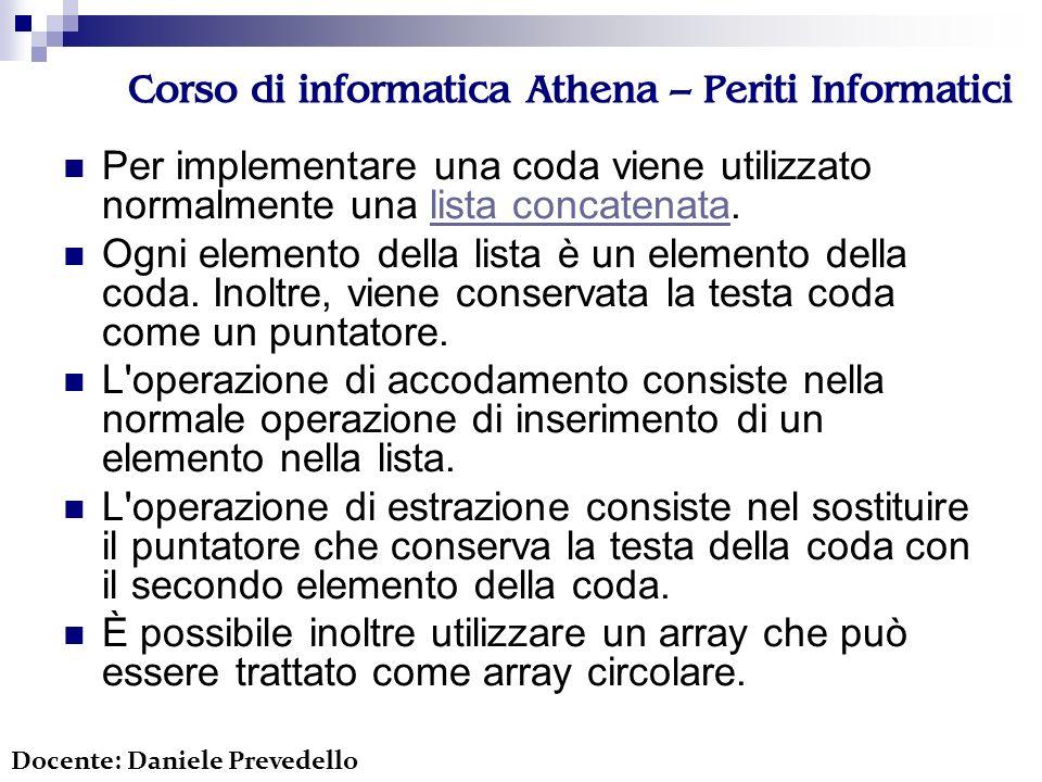 Corso di informatica Athena – Periti Informatici Per implementare una coda viene utilizzato normalmente una lista concatenata.lista concatenata Ogni elemento della lista è un elemento della coda.