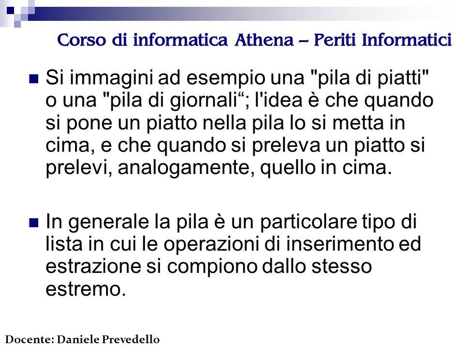 Corso di informatica Athena – Periti Informatici Si immagini ad esempio una