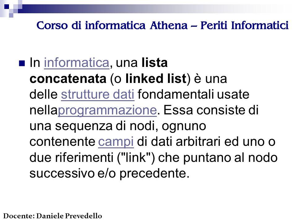 Corso di informatica Athena – Periti Informatici In informatica, una lista concatenata (o linked list) è una delle strutture dati fondamentali usate n