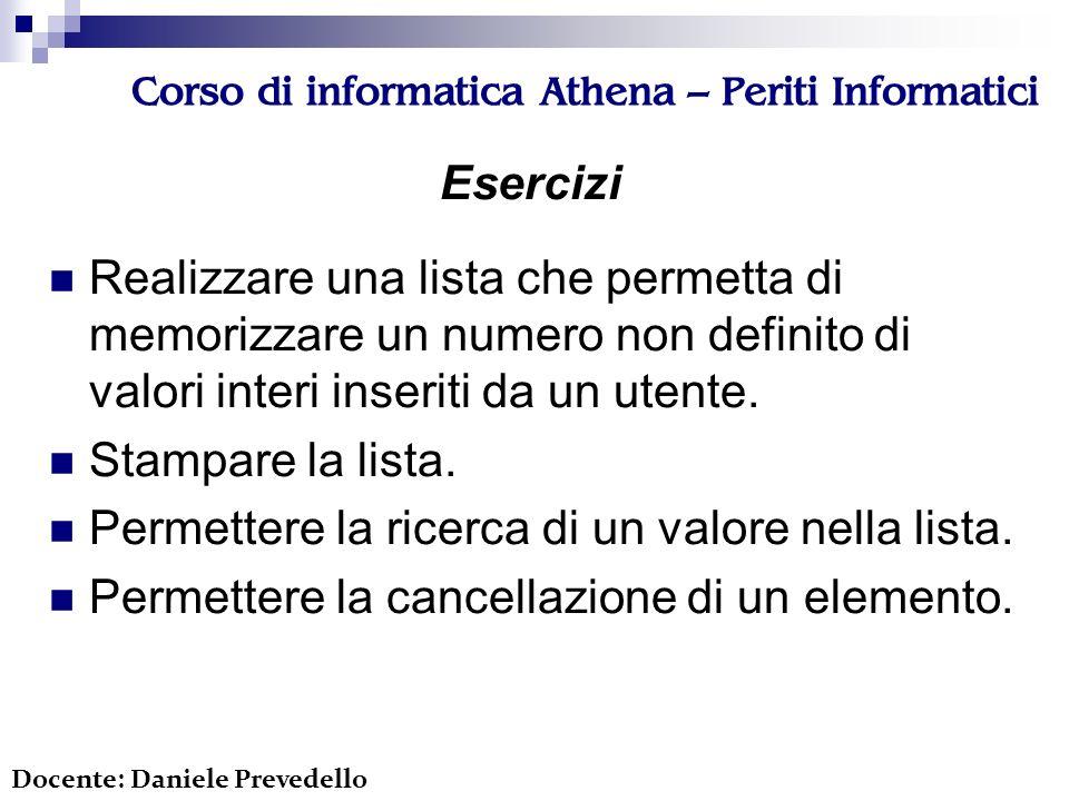 Corso di informatica Athena – Periti Informatici Esercizi Realizzare una lista che permetta di memorizzare un numero non definito di valori interi inseriti da un utente.
